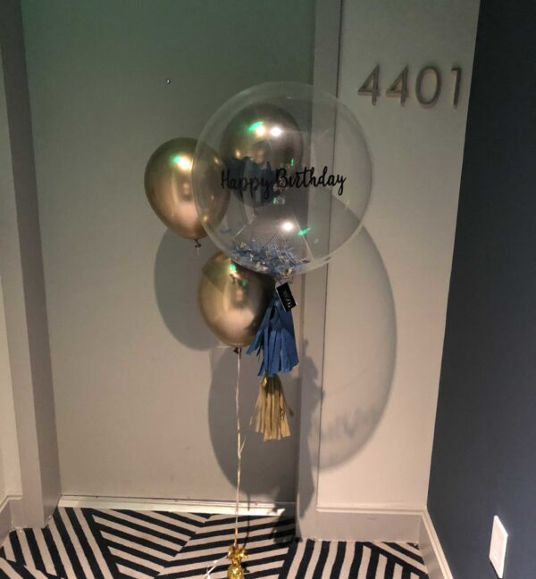 Customized clear balloons bouquet