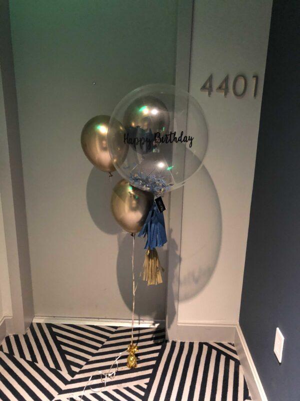 clear balloon birthday bouquet