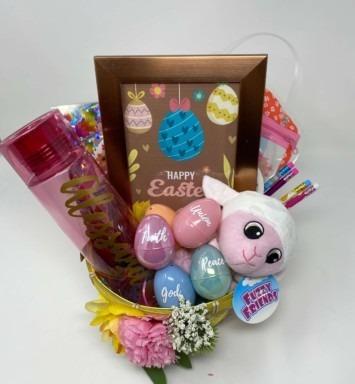 Happy Easter 2021 basket lightly pink